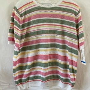NWT Alfred Dunner Pastel Striped Sweater